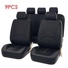 9Pcs Black Universal Car Seat Covers PU Leather Cushions 5 Seats Full Protect UK