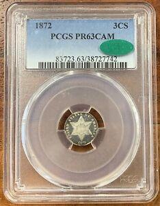 1872 Three Cent Silver PCGS PR63CAM CAC