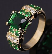 Delicate Emerald 18K Gold Filled Women's Memorial Wedding Rings Gifts Size 6-11