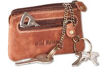Wild Nature® Wild - Leder Schlüsseltasche mit 2 Schlüsselketten in Natur