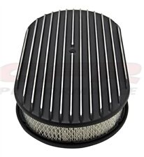 "ALUMINUM 15"" OVAL AIR CLEANER PAPER FILTER POLISHED FINNED - BLACK"