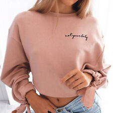 US Women Bowknot Long Sleeve Sweater Pullover Crop Tops Hoodie Sweatshirt Jumper