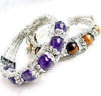 Ladies Bangle Amethyst Tiger Eye Tibet Silver Woman Bracelet Jewellery 1set