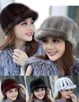 women men Real mink fur  Winter Warm  Hat Cap Headgear Baseball caps QS 0047.1