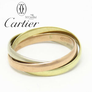 NYJEWEL Cartier 14K Yellow White Rose Gold Classic Tricolor Band Ring size 6.75