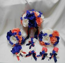 Wedding Silk Flower Bridal Bouquets 18 pcs Package Navy Blue Coral Ivory Bride