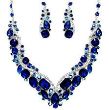 Navy Montana Sapphire Blue Crystal Necklace Elegant Wedding Formal Prom Jewelry