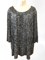 Citiknits Women's Blouse Plus 1X 3/4 Sleeve Pullover Top