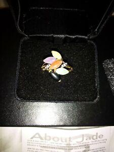 14K Multi Marquis Jade/Diamond Ring Sz 8
