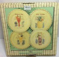 "Sakura Tiki Paul Brent by Oneida Stoneware 8"" Dessert/Salad Plates New In Box"