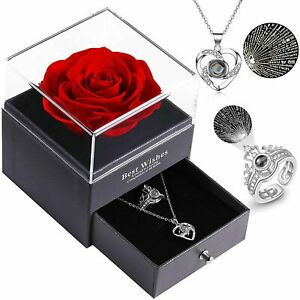 Preserved Real Rose with Love Heart I Love You Necklace 100 Languages Gift Set
