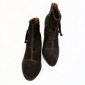 NEW Lucky Brand Ramses Womens 8.5 38.5 M Ankle Boots Suede Zipper Heels Brown
