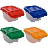 Plastic 30L Storage Box Recycle Hinged Lid  Boxes Stack-able Multi Use Bin