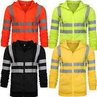 Hi Viz Vis High Visibility Hoodie Jacket Men Work Hooded Sweatshirt Outwear Tops