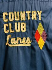 vintage womens bowling shirt Country Club Lanes Blue Coach Mid Century Diamond