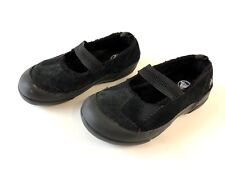 Girl's Dawson Crocs black suede leather Mary Jane slip on shoes size 1 worn once