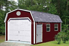 12' x 20' Storage Shed / Workshop / One Car Garage Barn Plans Design #31220