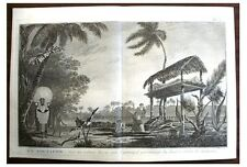 1794 Capt Cook Engraving - MOURNING CEREMONY - TAHITI