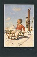 Winterfreuden Max von Poosch Wien Kunstdruck 1940 Kind Winter Schlitten Blaas