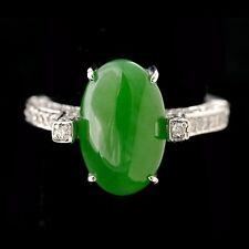 Mason Kay CERTIFIED JADE DIAMOND 14K GOLD RING Antique Estate Vintage A Jadeite*