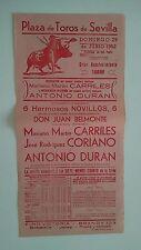 1952 Cartel Plaza de Toros Sevilla Carriles Duran Belmonte Coriano