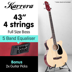 Karrera 43in 4 String Acoustic Bass Guitar with Electric Pickup Natural