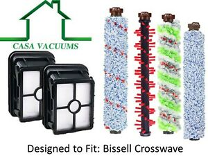 Replacement Hepa Filter Brush Roll Kit for Bissell Crosswave 1866 1868 2306 1926