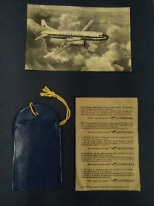 Lufthansa Convair 340 Postcard & Plastic Baggage Tag
