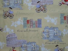RETRO BICYCLES ROME ITALY SITES VESPA SCOOTERS YELLOW COTTON FABRIC FQ