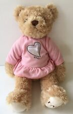 "FAO Schwarz Teddy Bear Plush Pink Dress Silver Heart 15"" Toys R Us"