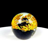 """STUDIO ART GLASS YELLOW FLORAL ON AMETHYST CONTROLLED BUBBLE 2 3/4"""" PAPERWEIGHT"""