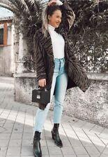 Zara New Animal Print Coat Zebra Wool Midi Masculine Size Xs 6