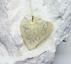 Handmade Glass Dichroic Sandy White Pebble Heart Pendant, Gift for Valentine