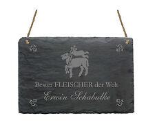 Schiefertafel  « BESTER FLEISCHER » + pers. Namen Schild mit MOTIV Metzger