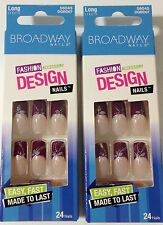 Broadway Kiss Nails Burgundy Tips Flowers Long Length 56045 / DGBDO7 Hottie