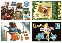 s27298) N.4 Cartoline Brovarone  Auto storiche T. Florio LANCIA FIAT 500 VESPA