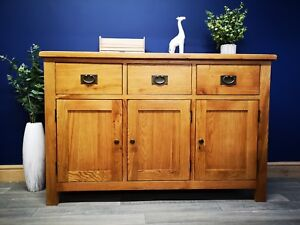 Baysdale Rustic Oak Large Sideboard Cupboard Cabinet Dining Room Furniture