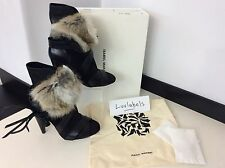 ISABEL MARANT RRP £815 Uk 3 36 Black Leather Fur Ankle Boots NEW BOXED Int. Inc.