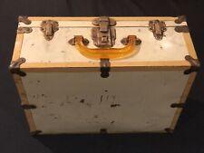 Vintage, original MID CENTURY Roller skate storage case. Brass, tin, wood.