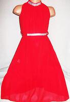GIRLS RED DIAMONTE TRIM GRECIAN FULL LENGTH CHIFFON MAXI DRESS with TIE BELT