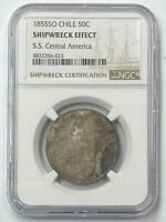 1855 SO Chile 50c Silver (50 Centavos) SS Central America NGC Shipwreck Effect