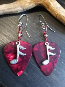 UNIQUE MUSIC RED GUITAR PICK/SILVER NOTE CHARM/BEAD/RED WIRE DESIGN EARRINGS!