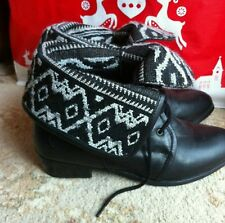 New Look leather black biker ankle boots shoes aztec buckle lace up 3 4