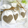 JUTE HESSIAN BAGS wedding favor small jute gift bag 9cmx14cm WHITE NATURAL HEART
