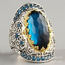 Luxurious silver Aquamarine Wedding Engagement Anniversary Jewelry Ring size 8