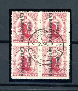 New Zealand King Edward VII Land 1d Value  fine-used  Block of (4)    (O560)