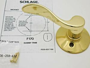 Schlage Accent DUMMY Lever Bright Brass Left Hand F170VACC605LH #78d