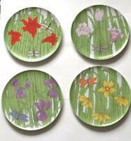Villa Vanilla Palm Beach Franci Plate Set (4) Flower Taste Setter Collection 135