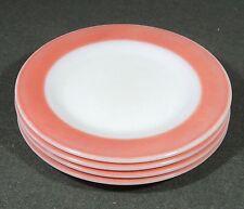 """4 Pyrex Milk Glass Flamingo Pink Band Salad Plates 8 1/8"""""""