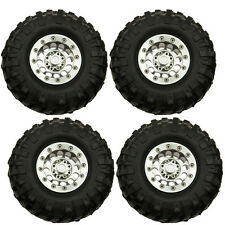 "RC 1/10 Metal 1.9"" Beadlock Wheel Rims w/ 96mm Tire Tyre set for SCX10 D90 CC01"